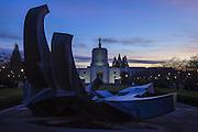 USA, Oregon, Salem, Oregon, Oregon Capitol at dusk on New Year's Eve.