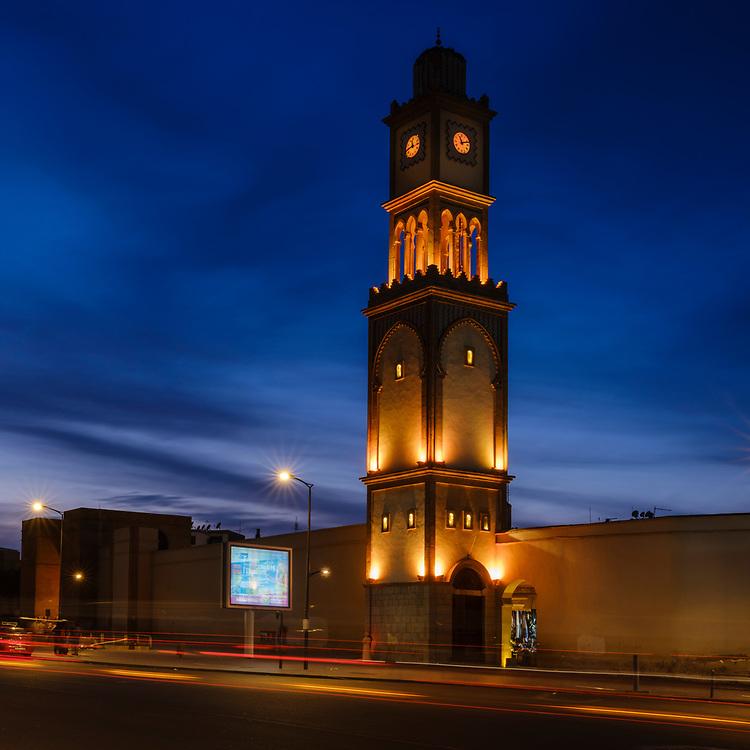 CASABLANCA, MOROCCO - CIRCA APRIL 2017: Clock Tower outside the Medina in Casablanca at night.