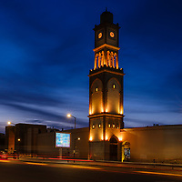 CASABLANCA, MOROCCO - CIRCA APRIL 2017: Clock Tower outside the Medina in Casablanca at night.