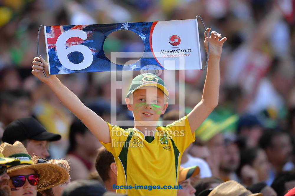 Australia fans during the 2015 ICC Cricket World Cup match at Melbourne Cricket Ground, Melbourne<br /> Picture by Frank Khamees/Focus Images Ltd +61 431 119 134<br /> 14/02/2015