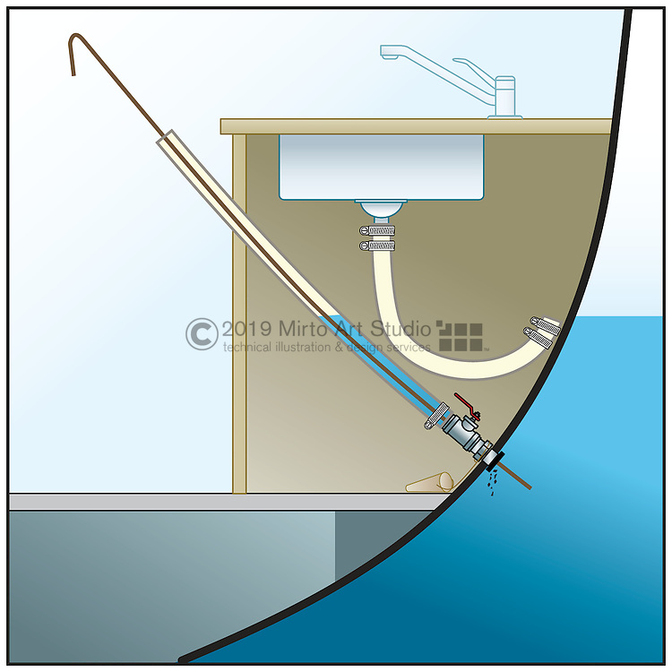 A vector illustration showing how to clean a clogged through hull fitting or seacock in a boat.