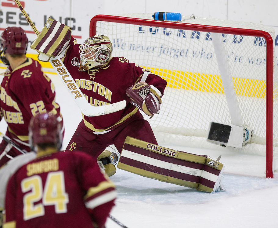 Boston College Goaltender Thatcher Demko (30) makes a blocker save during a NCAA hockey game between Army and Boston College at Tate Rink on October 9, 2015 in West Point, New York. (Dustin Satloff)