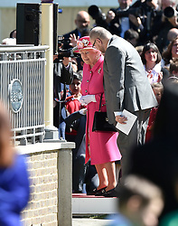 © Licensed to London News Pictures. 20/04/2016. HRH QUEEN ELIZABETH II  officially opens the new bandstand at Alexandra Gardens in Windosr on the eve of her 90th birthday. Photo credit: Hannah McKay/LNP