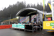 Belgium, Sunday 13th December 2015: The podium for the Hansgrohe Superprestige cyclocross races at Spa Francorchamps.<br />