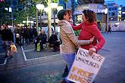 Frankfurt am Main | 28 Apr 2014<br /> <br /> Am Montag (28.04.2014) veranstalteten etwa 200 Menschen an der Hauptwache in Frankfurt am Main sogenannte Montagsdemos gegen Hartz IV und die Agenda 2010 und dann sp&auml;ter f&uuml;r den Frieden, gegen den Krieg etc., am zweiten Teil der Montagsdemo nahmen AfD-Aktivisten und die Neonazi-Aktivistin Sigrid Sch&uuml;&szlig;ler (NPD, RNF/Ring Nationaler Frauen) teil.<br /> Hier: Neonazi-Aktivistin Sigrid Sch&uuml;&szlig;ler (NPD, RNF/Ring Nationaler Frauen, l, rote Haare) freut sich &uuml;ber eine Kostenlose Umarmung (Free Hug).<br /> <br /> &copy;peter-juelich.com<br /> <br /> [No Model Release | No Property Release]