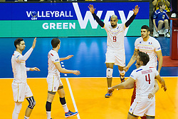09.01.2016, Max Schmeling Halle, Berlin, GER, CEV Olympia Qualifikation, Frankreich vs Polen, im Bild Kevin Tillie (#7, FRA), Benjamin Toniutti (#6, FRA), Earvin Ngapeth (#9, FRA) und NicolasLe Goff (#14, FRA) // during 2016 CEV Volleyball European Olympic Qualification Match between France and Poland at the Max Schmeling Halle in Berlin, Germany on 2016/01/09. EXPA Pictures © 2016, PhotoCredit: EXPA/ Eibner-Pressefoto/ Wuechner<br /> <br /> *****ATTENTION - OUT of GER*****