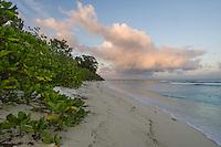 Dusk over the D'Arros Island coastline, D'Arros Island and St Joseph Atoll, Amirantees, Seychelles,