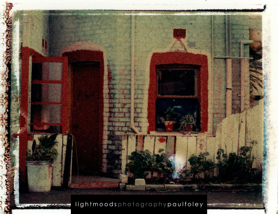 Al's Place, Polaroid transfer showing a derelict house in Cooks Hill, a suburb of Newcastle, Australia