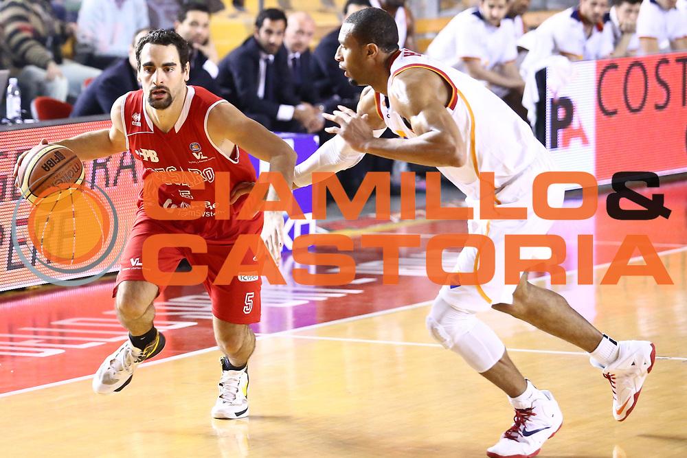 DESCRIZIONE : Roma Lega A 2013-2014 Acea Roma Victoria Libertas Pesaro<br /> GIOCATORE : Musso Bernardo<br /> CATEGORIA : palleggio<br /> SQUADRA : Victoria Libertas Pesaro<br /> EVENTO : Campionato Lega A 2013-2014<br /> GARA : Acea Roma Pasta Victoria Libertas Pesaro<br /> DATA : 22/03/2014<br /> SPORT : Pallacanestro <br /> AUTORE : Agenzia Ciamillo-Castoria/M.Simoni<br /> Galleria : Lega Basket A 2013-2014  <br /> Fotonotizia : Roma Lega A 2013-2014 Acea Roma Victoria Libertas Pesaro<br /> Predefinita :