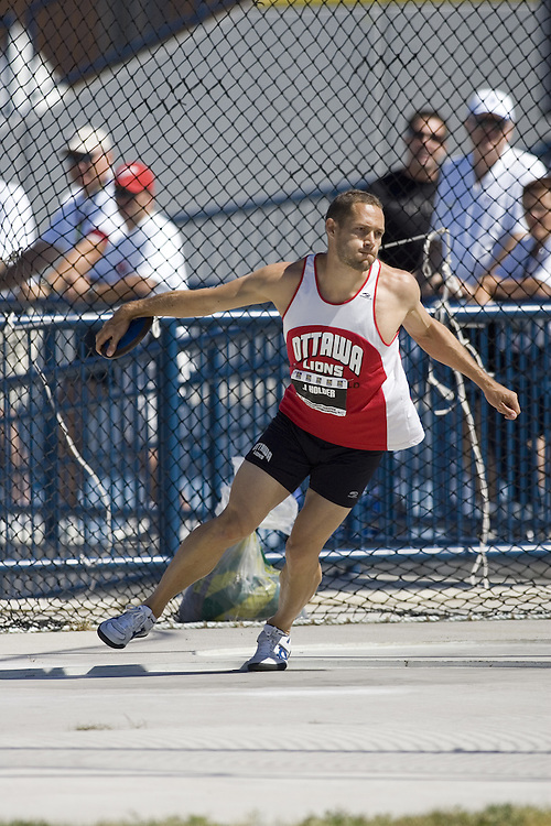 13 July 2007 (Windsor--Canada) -- The 2007 Canadian National Track and Field Championships... James Holder competing in the decathlon discus.
