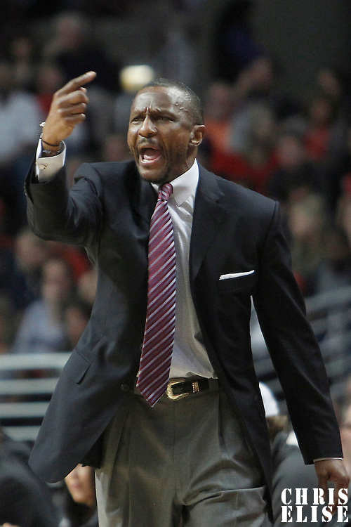 24 March 2012: Toronto Raptors head coach Dwane Casey reacts during the Chicago Bulls 102-101 victory in overtime over the Toronto Raptors at the United Center, Chicago, Illinois, USA.