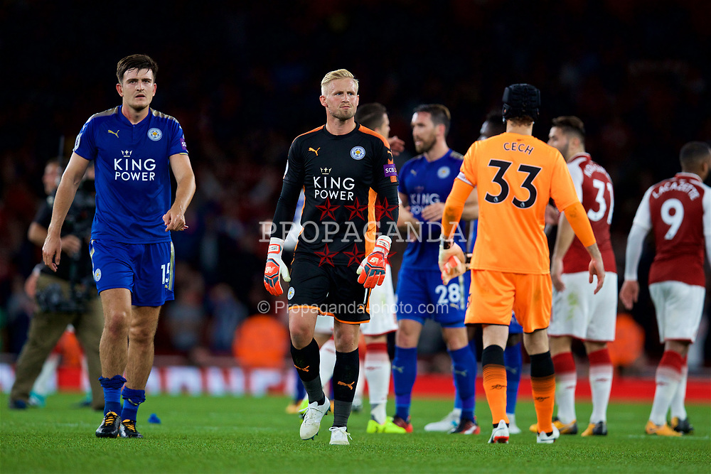 LONDON, ENGLAND - Friday, August 11, 2017: Leicester City's Harry Maguire and goalkeeper Kasper Schmeichel look dejected after losing 4-3 during the FA Premier League match between Arsenal and Leicester City at the Emirates Stadium. (Pic by David Rawcliffe/Propaganda)
