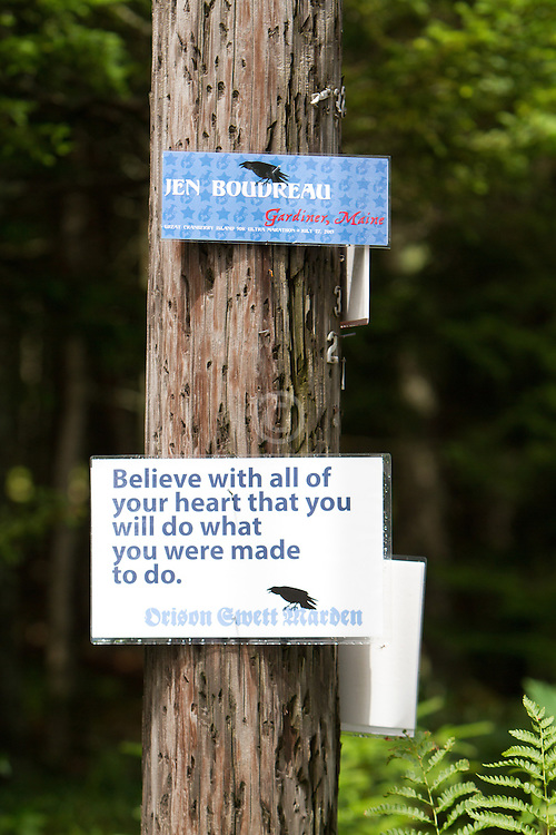 Great Cranberry Island Ultra 50K road race: inspirational sign on post, Jen Boudreau