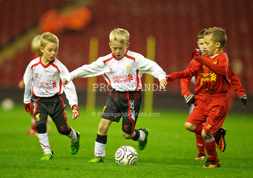 LIVERPOOL, ENGLAND - Tuesday, September 17, 2013: Liverpool Under-9's during the Under 21 FA Premier League match at Anfield. (Pic by David Rawcliffe/Propaganda)
