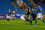 Carlisle United Defender Mark Ellis making a vital clearance during the Sky Bet League 2 match between Carlisle United and Portsmouth at Brunton Park, Carlisle, England on 21 November 2015. Photo by Craig McAllister.