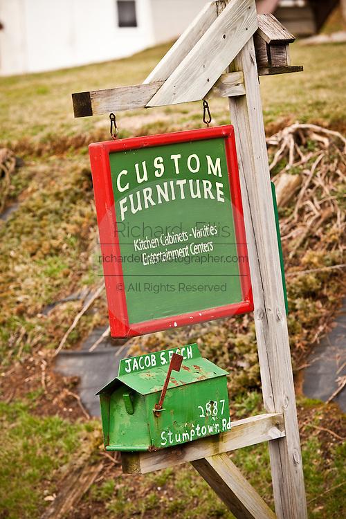 Amish mailbox sign advertising custom furniture Mascot, PA