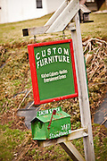 Amish mailbox sign advertising custom furniture Mascot, PA