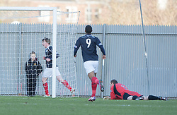 Falkirk's David Weatherston celebrates after scoring their second goal..half time : Dumbarton v Falkirk, 23/2/2013..©Michael Schofield.