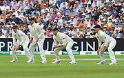 Joe Root, Jason Roy, Ben Stokes and Rory Burns of England in the slips during the International Test Match 2019 match between England and Australia at Edgbaston, Birmingham, United Kingdom on 3 August 2019.
