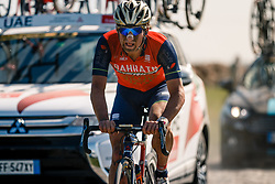 Rider of Bahrain Merida Pro Cycling Team during the 115th Paris-Roubaix (1.UWT) from Compiègne to Roubaix (257 km) at cobblestones sector 17 from Hornaing to Wandignies, France, 9 April 2017. Photo by Pim Nijland / PelotonPhotos.com | All photos usage must carry mandatory copyright credit (Peloton Photos | Pim Nijland)