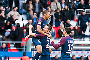 Kylian Mbappe (psg) after his scored his first goal and Julian Draxler (psg) during the French Championship Ligue 1 football match between Paris Saint-Germain and SCO Angers on march 14, 2018 at Parc des Princes stadium in Paris, France - Photo Pierre Charlier / ProSportsImages / DPPI