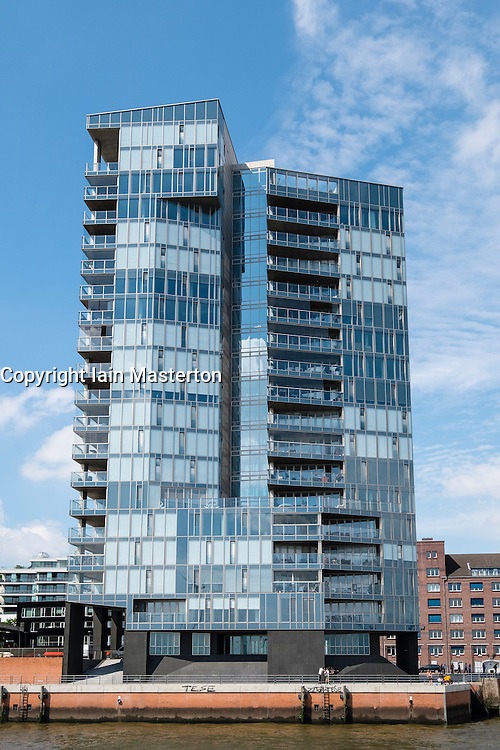 """Modern apartment building """"Kristall"""" on waterfront of River Elbe in Hamburg Germany"""