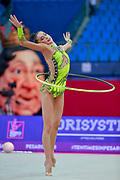 Meleshchuk Yeva during the qualification of hoop at the Pesaro World Cup 2018.<br /> She is a Ukrainian gymnast born in Kyiv in 2001.