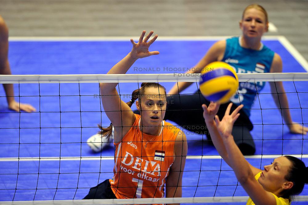 15-10-2011 VOLLEYBAL: EUROPEAN CHAMPIONSHIP SITTING VOLLEYBALL FINAL NETHERLANDS - UKRAINE: ROTTERDAM<br /> Netherlands lost the final with 3-1 from Ukraine / Elvira Stinissen<br /> &copy;2011-FotoHoogendoorn.nl