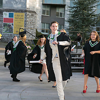 FREE IMAGE-NO REPRO FEE. New graduates from Drama & Theatre Studies UCC surprise and delight fellow students, staff, family and friends with an impromptu performance at the end of their conferring ceremony (Tuesday 21 October 2014). Their chosen song for the high energy dance routine, 'Happy' by Pharrell Williams, summed up the spirit of the occasion nicely. Co-ordinating the flashmob was choreographer Inma Pavon, a dance/movement lecturer with Drama& Theatre Studies UCC and assistant Drama & Theatre Studies lecturer Fionn Woodhouse. Video to follow and press release, all media queries to Tom McCarthy, UCC Media on 0863864323 or media@ucc.ie (Image by Tomas Tyner, UCC).