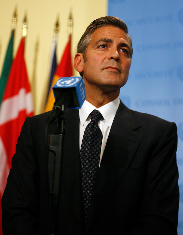 Actor George Clooney after addressing the U.N. Security Council at the United Nations in New York Thursday, Sept. 14, 2006