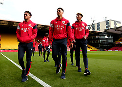 Freddy Hinds, Zak Vyner and Lloyd Kelly of Bristol City arrive at Vicarage Road for his side's Carabao Cup Match against Watford - Mandatory by-line: Robbie Stephenson/JMP - 22/08/2017 - FOOTBALL - Vicarage Road - Watford, England - Watford v Bristol City - Carabao Cup