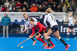 Holcombe's Philippa Lewis. Holcombe v Surbiton - Investec Women's Hockey League Final, Lee Valley Hockey & Tennis Centre, London, UK on 29 April 2018. Photo: Simon Parker