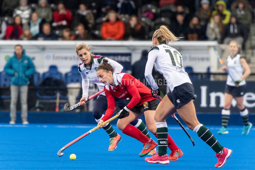 Holcombe's Philippa Lewis. Holcombe v Surbiton - Investec Women's Hockey League Final, Lee Valley Hockey & Tennis Centre, London, UK on 29 April 2018. Photo: Simon Parker