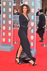 © Licensed to London News Pictures. 18/02/2018. London, UK. ROCHELLE HUMES arrives on the red carpet for the EE British Academy Film Awards 2018, held at the Royal Albert Hall. London, UK. Photo credit: Ray Tang/LNP