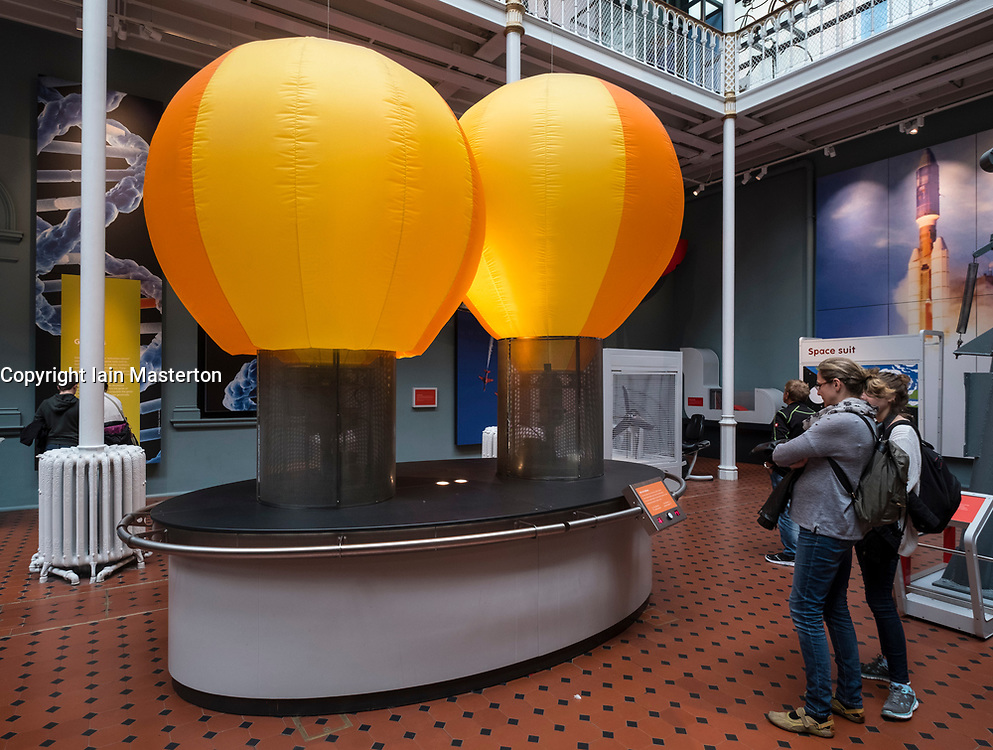 Model of hot air balloons at  National Museum of Scotland in Edinburgh, Scotland, United Kingdom