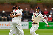 Wicket - Josh Davey of Somerset celebrates taking the wicket of Ben Cox of Worcestershire during the Specsavers County Champ Div 1 match between Somerset County Cricket Club and Worcestershire County Cricket Club at the Cooper Associates County Ground, Taunton, United Kingdom on 22 April 2018. Picture by Graham Hunt.