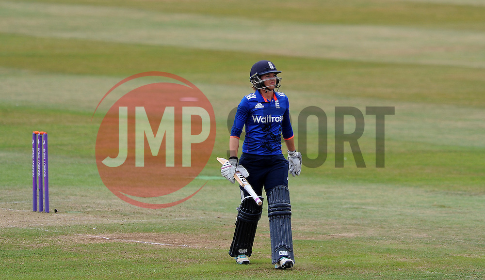 Dejection for England's Sarah Taylor after being dismissed. - Photo mandatory by-line: Harry Trump/JMP - Mobile: 07966 386802 - 21/07/15 - SPORT - CRICKET - Women's Ashes - Royal London ODI - England Women v Australia Women - The County Ground, Taunton, England.