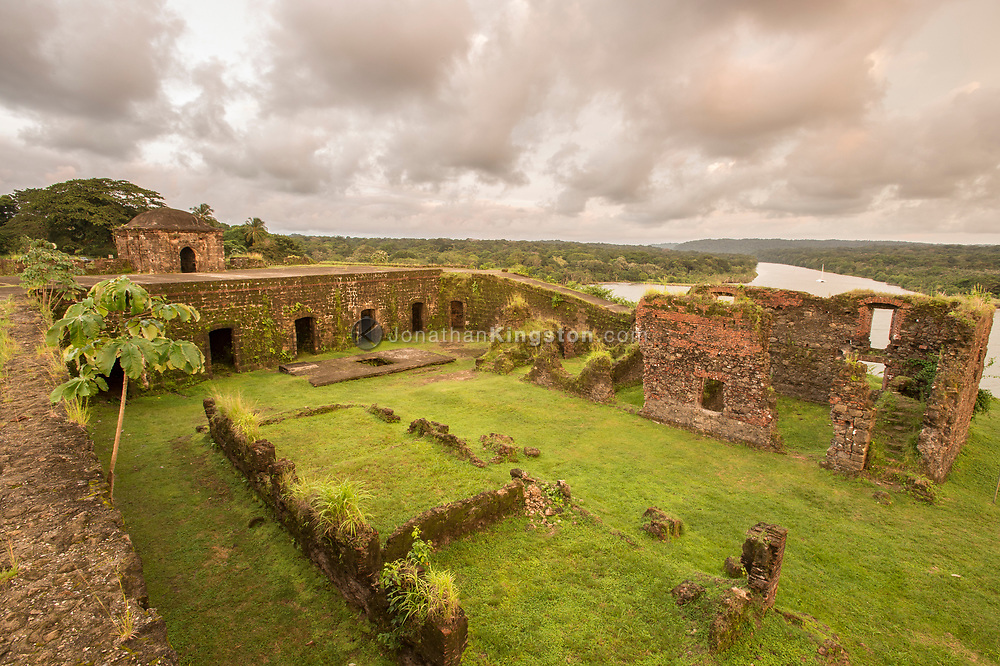 High angle view of Fort San Lorenzo and the Chagres river, Panama.