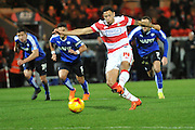 Nathan Tyson of Doncaster Rovers takes penalty but missis then follows up and scores during the Sky Bet League 1 match between Doncaster Rovers and Chesterfield at the Keepmoat Stadium, Doncaster, England on 24 November 2015. Photo by Ian Lyall.