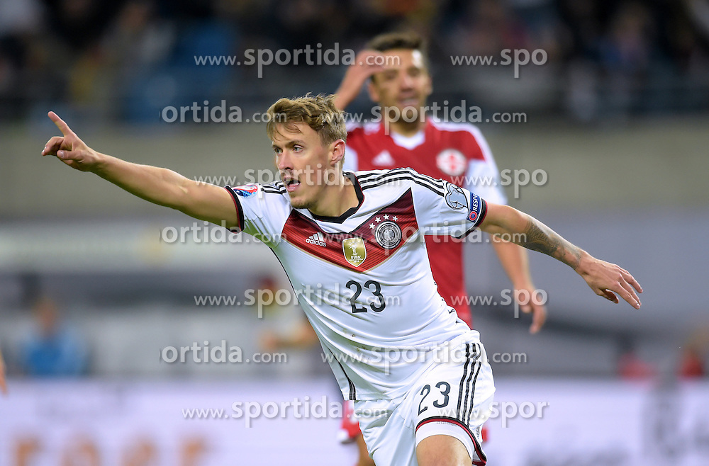11.10.2015, Stadion Leipzig, Leipzig, GER, UEFA Euro Qualifikation, Deutschland vs Georgien, Gruppe D, im Bild Max Kruse (GER #23) beim Jubel zum 2:1 Tor // during the UEFA EURO 2016 qualifier group D match between Germany and Georgia at the Stadion Leipzig in Leipzig, Germany on 2015/10/11. EXPA Pictures &copy; 2015, PhotoCredit: EXPA/ Eibner-Pressefoto/ Ostpix<br /> <br /> *****ATTENTION - OUT of GER*****