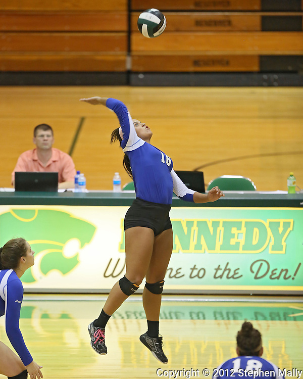 Washington's Aleena Hobbs (16) goes up for a kill during the MVC Volleyball Tournament Championship game between the Hempstead Mustangs and the Washington Warriors at Kennedy High School in Cedar Rapids on Saturday October 13, 2012. Hempstead defeated Washington 25-21 25-19.