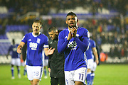 Birmingham City's goalscorer Isaac Vassell applauds the fans during the EFL Sky Bet Championship match between Birmingham City and Sheffield Wednesday at St Andrews, Birmingham, England on 27 September 2017. Photo by John Potts.