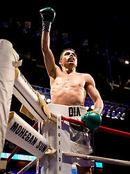 Apr 6, 2007; Uncasville, CT, USA; Juan Manuel Buendia celebrates his 8 round ESPN2 Friday Night Fights unanimous decision win over Israel Cardona at the Mohegan Sun Arena.