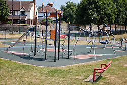 """© Licensed to London News Pictures.  18/07/2013. THAME, UK. General view of a playground in Southern Road recreation ground in Thame, Oxfordshire where yesterday afternoon (Wed 17th) a 14-month old boy was hospitalised after picking up a discarded drugs wrap and chewing it. His condition is not thought to be serious but he was kept in overnight for observation.<br /> <br /> Police officers searched the scene for further paraphernalia and engaged with the council who will carry out additional cleaning at the recreation ground.<br /> <br /> Det Sgt Darren Cartwright of Thames Valley Police said: """"This was obviously a frightening experience for the boy's parents, but fortunately he doesn't seem to have been seriously harmed. It seems he had picked up a discarded paper wrap believed to have contained an illegal drug."""" <br /> <br /> Photo credit: Cliff Hide/LNP"""