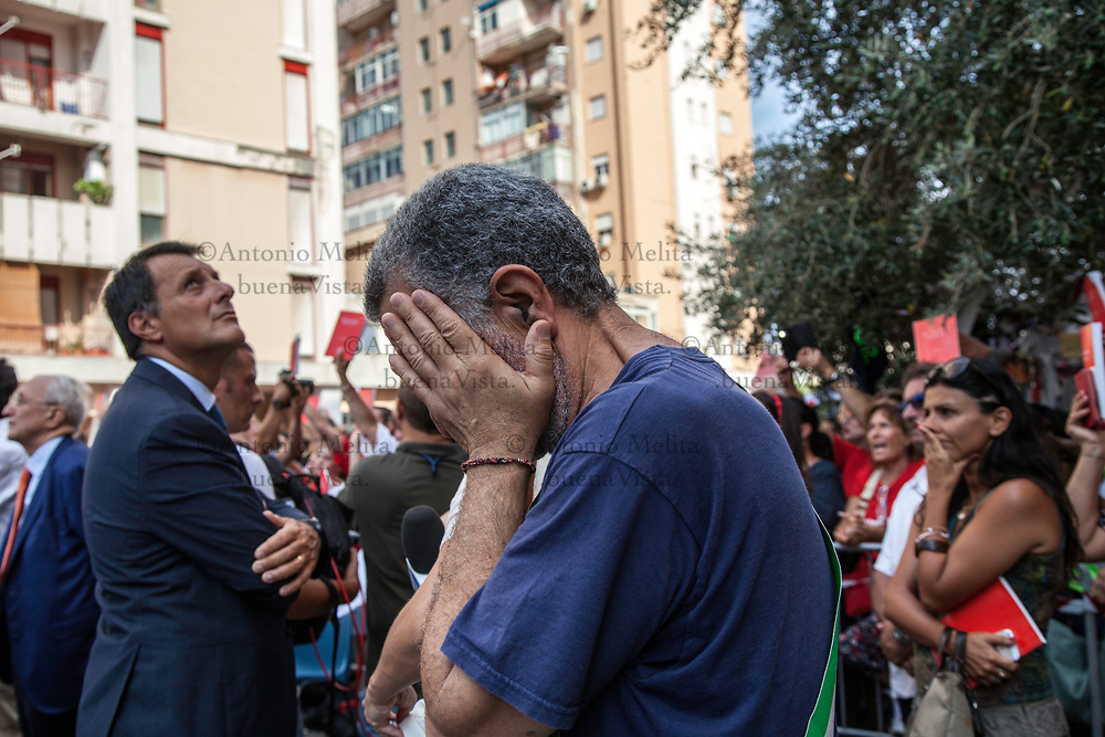 Un commosso Renato Accorinti, sindaco di Messina, durante la commemorazione del 25° anniversario della strage di Via D'Amelio.