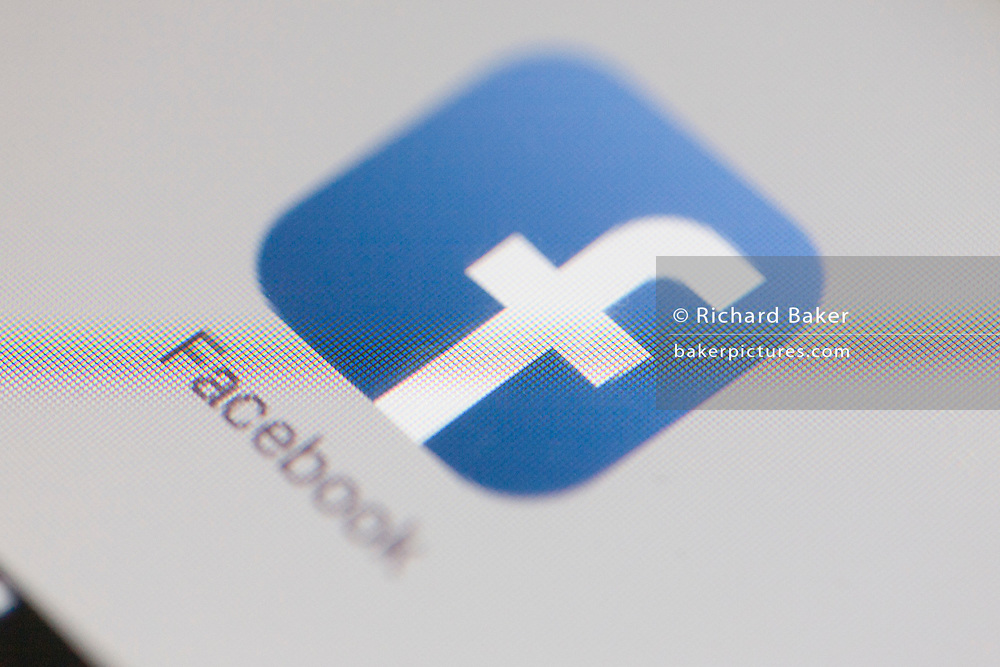 A detail from an iPad screen of the Facebook icon.