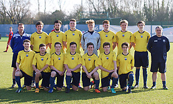 NEWPORT, WALES - Sunday, February 8, 2015: South Wales schools players line up for a team group photograph before a friendly match against  Wales U18 Academy at Dragon Park. (Pic by David Rawcliffe/Propaganda)