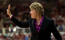 March 22, 2010; Stanford, CA, USA;  Iowa Hawkeyes head coach Lisa Bluder during the first half against the Stanford Cardinal in the second round of the 2010 NCAA womens basketball tournament at Maples Pavilion.  Stanford defeated Iowa 96-67.