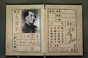 SHAOSHAN, CHINA - 4 NOVEMBER 2005 - Mao Zedong's identification card on display at his museum in Shaoshan. Visitors to the museum can admire the Chairman's personal affects such as toothbrushes, razors, clothing, even swimming trunks. Photo by Natalie Behring