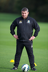 CARDIFF, WALES - Saturday, October 13, 2012: Wales' coach Osian Roberts during a recovery training session ahead of the Brazil 2014 FIFA World Cup Qualifying Group A match against Croatia at the Vale of Glamorgan Hotel. (Pic by David Rawcliffe/Propaganda)